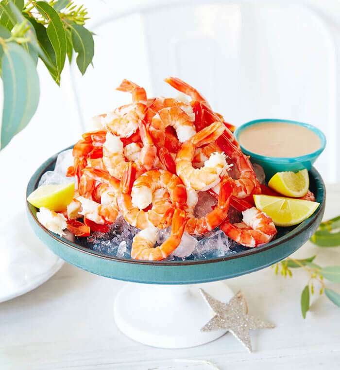 Fresh Prawns<h5> with a Cocktail Dipping Sauce</h5>