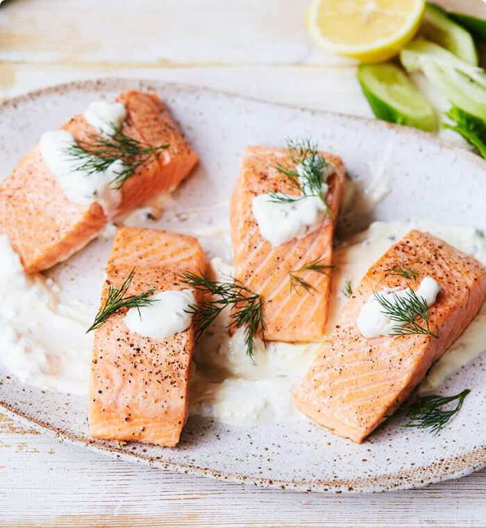 Oven Baked Salmon<h5> with Lemon & Caper Sauce</h5>