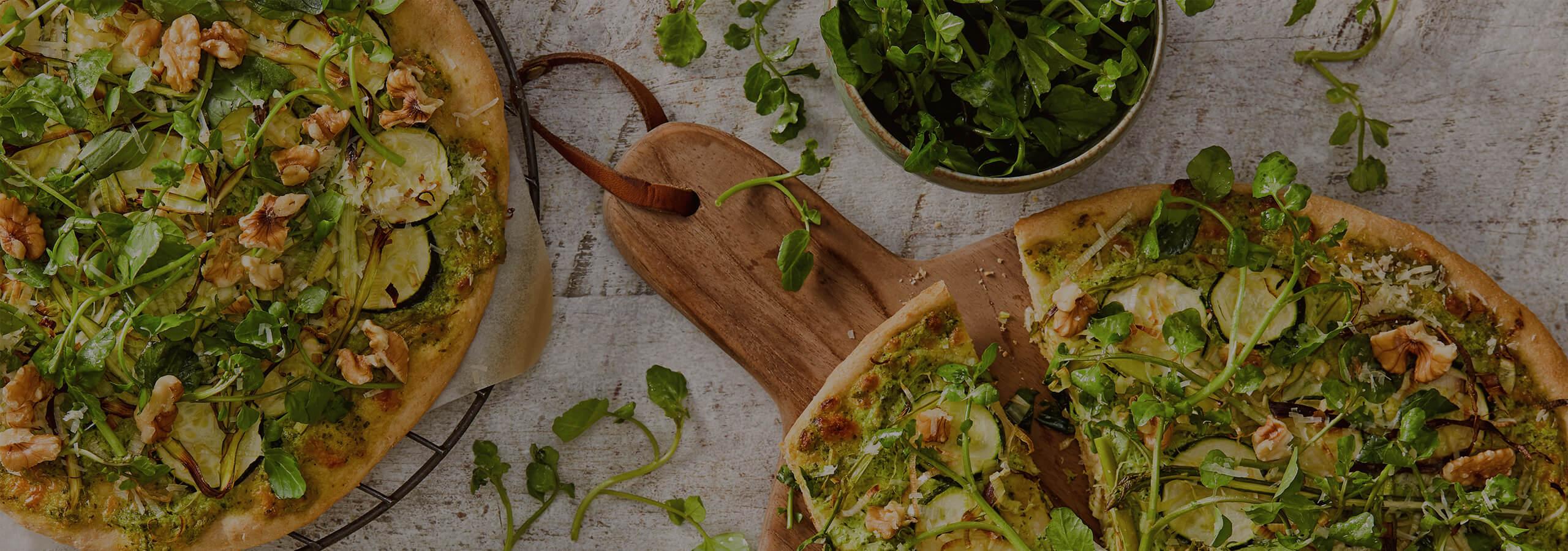 Pesto, Zucchini and Asparagus Pizza